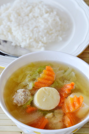low fat: rice eat with boiled Chinese cabbage and egg tofu soup low fat meal