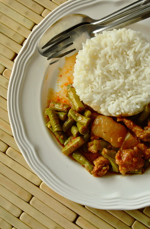 long bean: spicy stir fried yard long bean and fat pork curry eat couple with rice