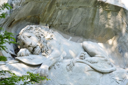 sobbing: dying lion of Lucerne monument and landmark in Switzerland