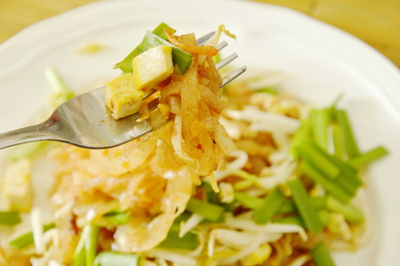 Pad Thai stir fried thin rice noodles with egg and tofu on fork