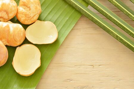 toddy palm: toddy palm tropical fruit on banana leaf Stock Photo