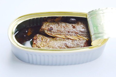 salty fried fish in tin canned opened on white background