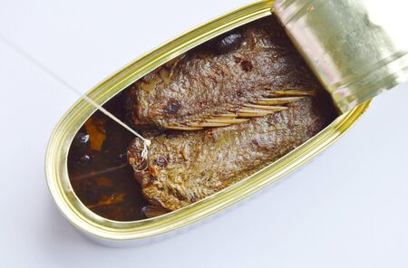 can opener: fishing hook and net catch salt fried fish in tin canned on white background