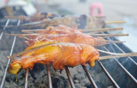 chicken leg and catfish grilled on iron stove