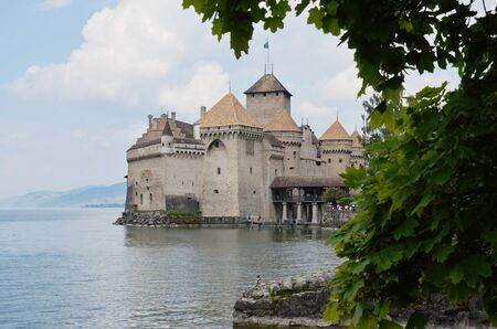 Montreux Switzerland June 2, 2014 : castle of Chillon believed by history this was ancient place occupied by Counts of Savoy in 11 or 13 century now is famous travel location and landmark in Switzerland