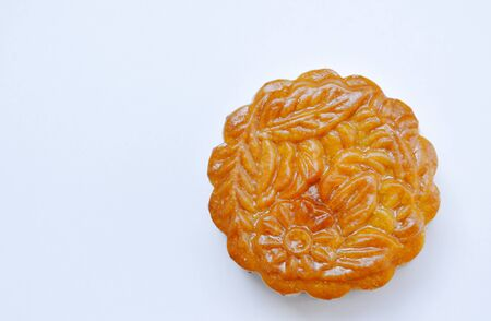 moon cake Chinese tradition dessert in festival on white background Stock Photo