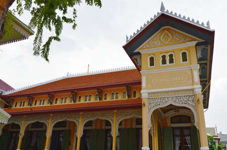 Bangkok Thailand November 20, 2017 : Phra Tamnak Petr or the Diamond Hall was built in 1914 by his majesty king Rama VI in Wat Bowonniwet Vihara. This location was once a printing house Editorial