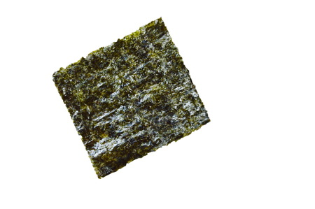 raw seaweed for cooking on white background