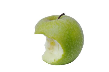 green apple with water drop bite on white background