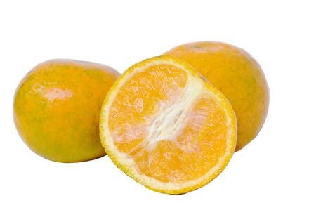 tangerine orange with water drop half cut on white background