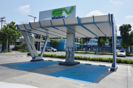 Samut Sakorn Thailand April 14, 2018 :  Electric vehicle charger in PTT Thailand public company limited gas station beginning to experimental and support for electrical car in near future