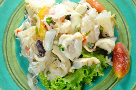 Thai spicy squid salad and fresh vegetable on plate Banco de Imagens - 101335954