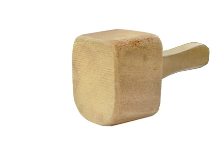 Big and heavy wooden hammer on white background 写真素材