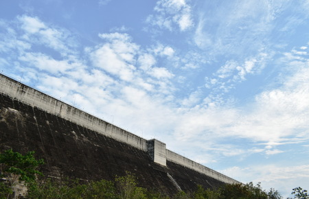 Khun Dan Prakarn Chon huge concrete dam in Thailand Stock Photo