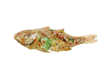 deep fried red snapper fish dressing sweet chili sauce on white background Foto de archivo