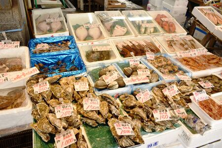 Hokkaido Japan March, 5 2019 : seafood market displays fresh crab, fish and processing food in Sapporo