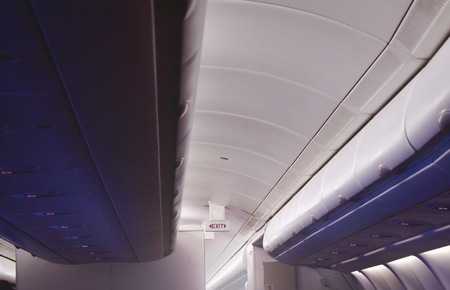 overhead cabinet for keeping passenger stuff on rooftop and exit sign in commercial plane cabin