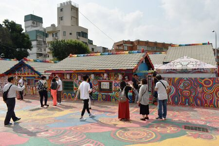 Taichung Taiwan March 29, 2019 : Caihongjuan or rainbow village old house of Taiwanese veteran renovation by painting and revive to new destination landmark Editorial