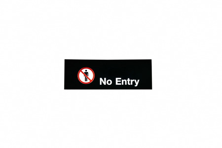black no entry sign box in airport terminal on white background
