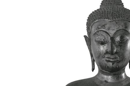 ancient Buddha image in monochrome tone on white background