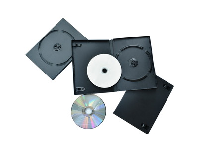 digital versatile disc or DVD with black plastic box packaging on white background