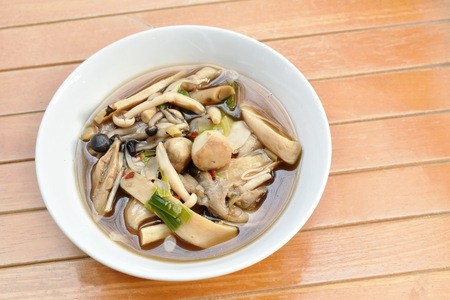 Boiled spicy mixed mushroom and gourd soup on bowl Stock fotó