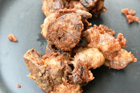 deep fried chicken liver and gizzard on plate