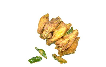 crispy fried chicken wing with lemon grass on white background