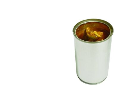 fish in tin can on white background