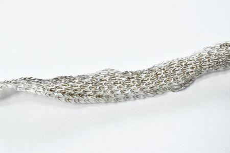 snake slough skin on white background