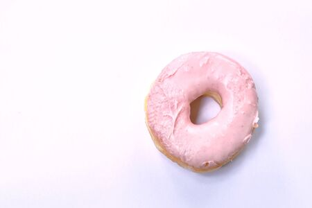 strawberry cream donuts on white background Stock fotó