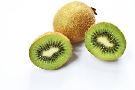 fresh kiwi fruit half cut on white background
