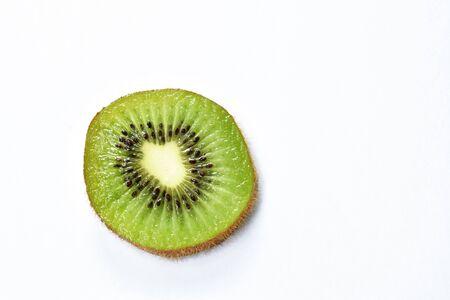 fresh kiwi fruit slice on white background
