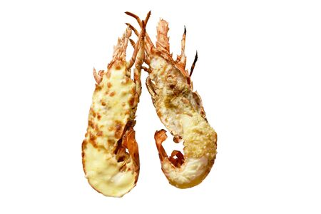 grilled lobster shrimp with cheese and butter garlic on white background