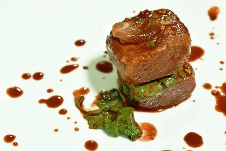 salt picked tofu with red sauce salad on plate Stock fotó