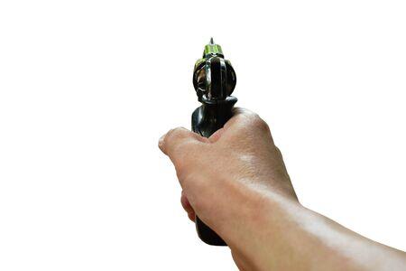 hand holding revolver gun aim to shoot in white background Stok Fotoğraf