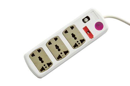 plug socket with assorted hole on white background