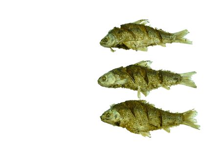 deep fried salty mullet fish arranging on white background