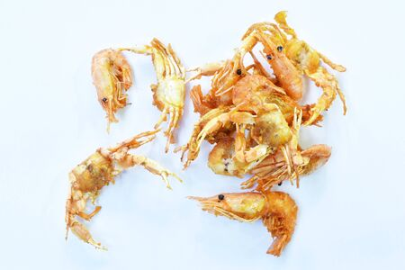 deep fried little swimming crab and shrimp with flour on white background