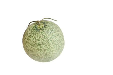Japanese green melon on white background