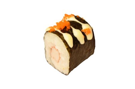 rice wrapping seaweed stuffed picked cabbage dressing shrimp egg and mayonnaise maki Sushi Japanese food on white background Фото со стока