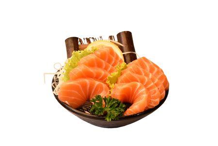 fresh slice salmon sashimi Japanese food serving on ice in bowl with white background Stok Fotoğraf