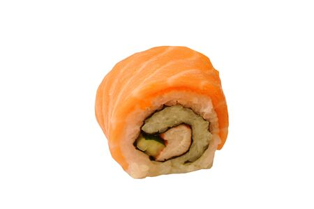 California roll wrapped with slice salmon Sushi Japanese food on white background