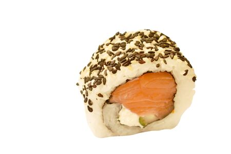 California roll stuffed tuna fish wrapping rice toppind black sesame Sushi Japanese food on white background
