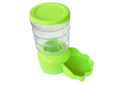 green automatic pet feeder for dog and cat on white background