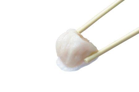 Ha Kao or white dumpling stuffed mashed shrimp and pork dressing soup picking by chopsticks Stockfoto