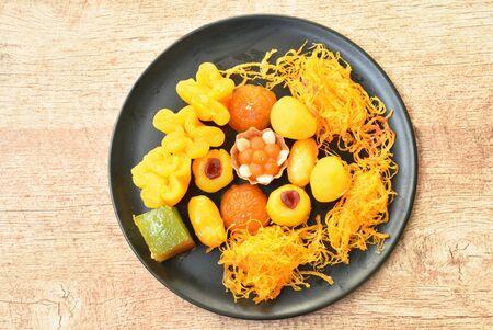 variety Thai dessert arranging on plate