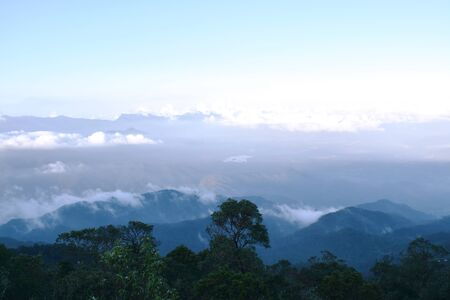 landscape of mountain with mist at Ba Na hills in Vietnam