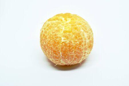 tangerine orange peel out on white background