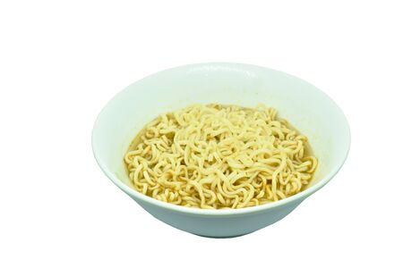 soft boiled instant noodles in bowl on white background Stockfoto